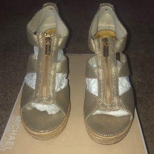 MK Gold Damita Wedges Metallic Wedges